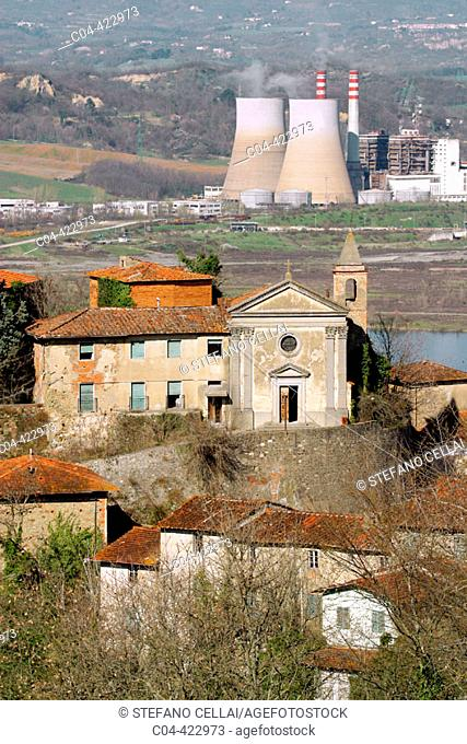 Old city and power station, Castelnuovo dei Sabbioni. Arezzo, Tuscany. Italy