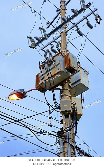streetlight and electric transformer, Cartagena de Indias, Colombia