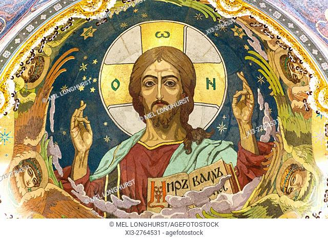 Christ mosaic in dome, Church on Spilled Blood, also Church of the Saviour on Spilled Blood, St Petersburg, Russia