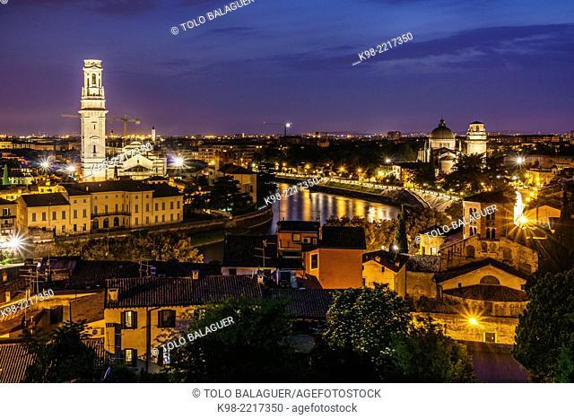 View of Verona from Castel San Pietro, Duomo, Verona, World Heritage, Italy