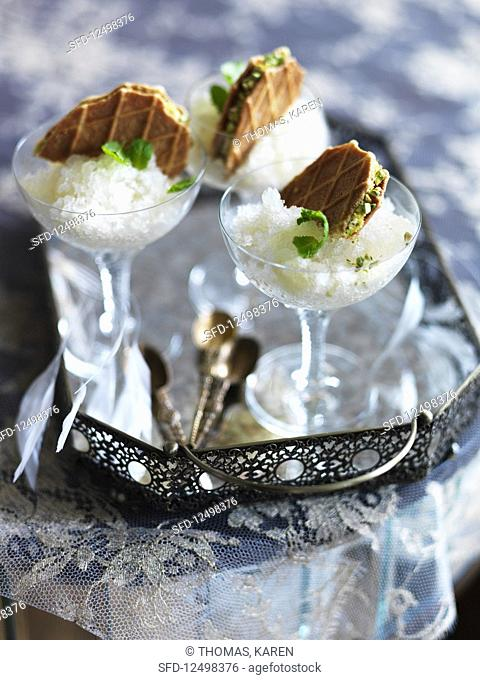 Mint julep sorbet with waffles and pistachios