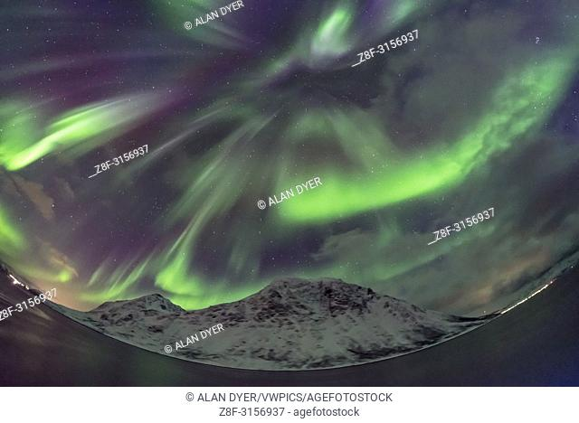 A sky-covering aurora on March 14, 2018, as seen from the Hurtigruten ship the m/s Nordnorge, as we sailed south toward Tromsø, Norway.