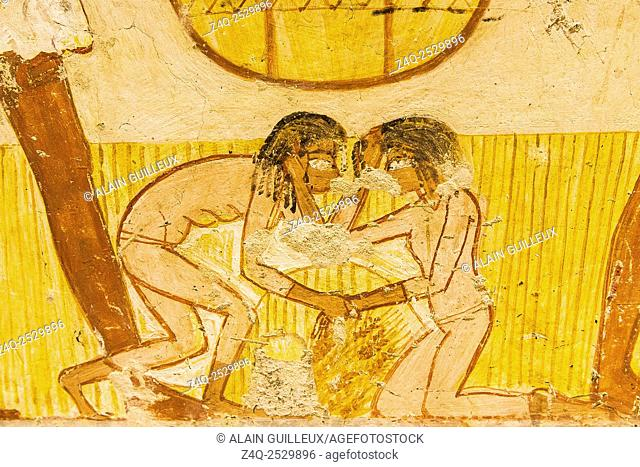 UNESCO World Heritage, Thebes in Egypt, Valley of the Nobles, tomb of Menna. Detail of an agricultural scene, 2 young girls are fighting for fallen ears of...