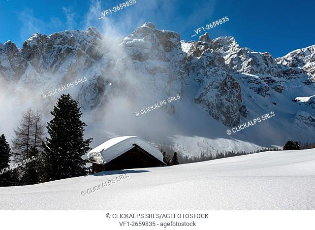 Medalges, Dolomites, South Tyrol, Italy. Winter Wonderland in the mountains of Medalges
