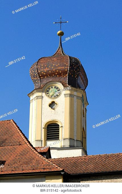 Sigmaringen - onion dome from the church st. johannes - Baden-Wuerttemberg, Germany, Europe