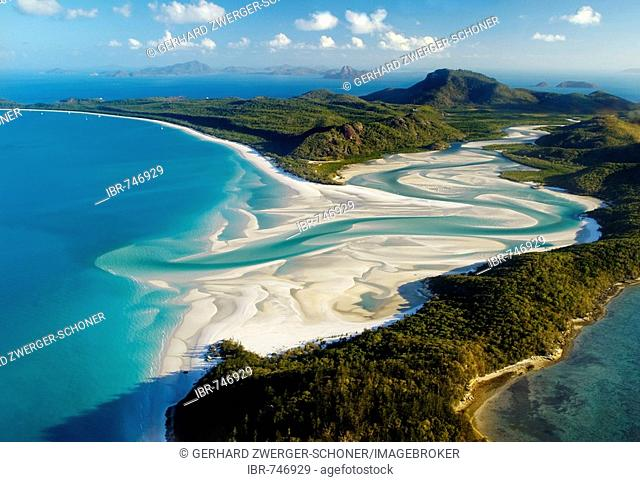 Aerial shot of Whitehaven Beach, Whitsunday Island, Great Barrier Reef, Queensland, Australia