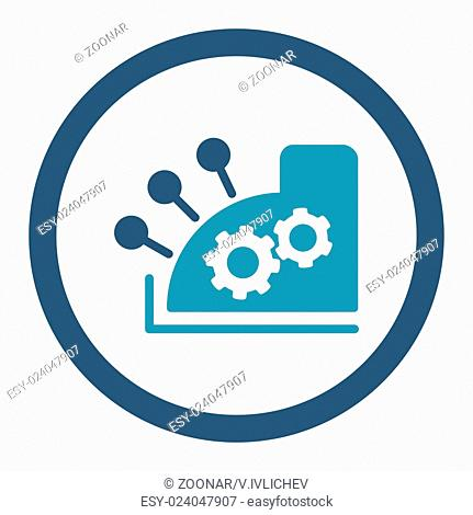 Cash register flat cyan and blue colors rounded vector icon