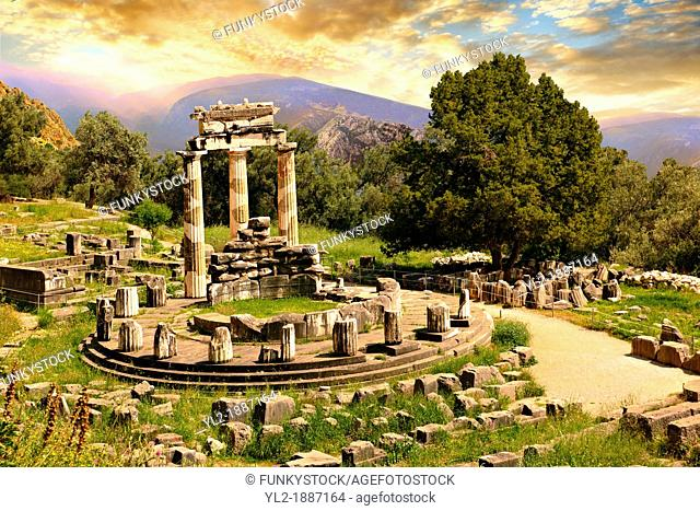 The Tholos at the sanctuary of Athena Pronaia, a circular building with Doric columns that was constructed between 380 and 360 BC  Delphi, archaeological site