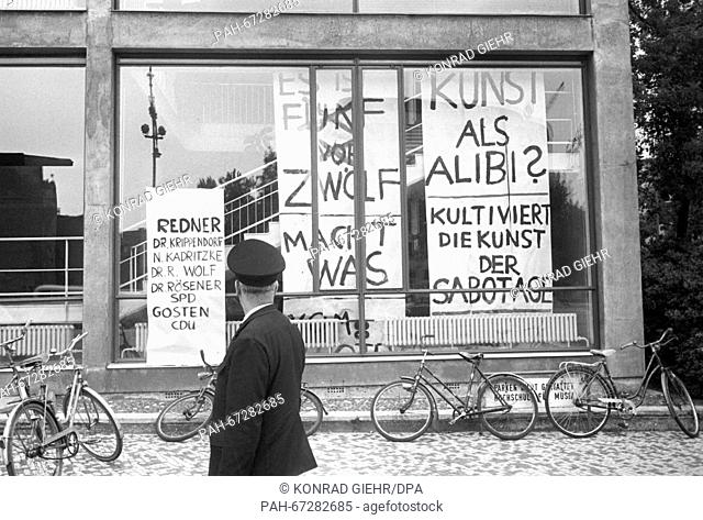 A pedestrian in front of the college of music in Berlin on 27 May 1968. A panel discussion about the Emergency Law took place in the concert hall of the college...
