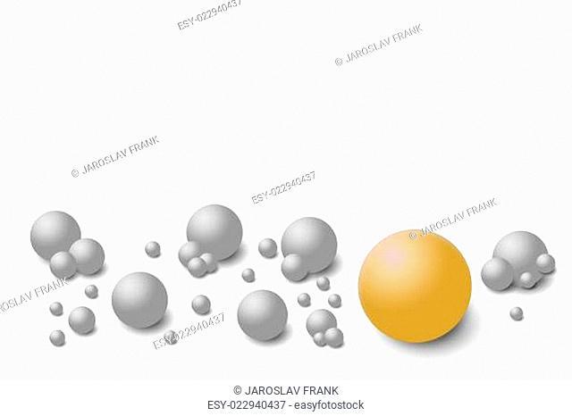 Grey balls on the white background