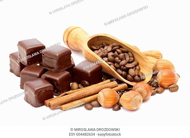 chocolate, coffee beans, cinnamon and nuts