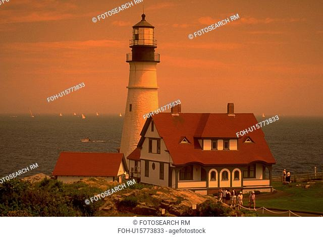 portland, white, water, edge, lighthouse, red