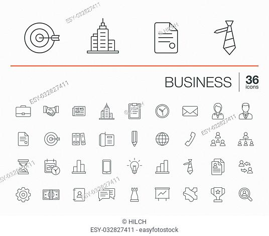 Vector thin line icons set and graphic design elements. Illustration with business and management outline symbols. Marketing research, strategy, service, career