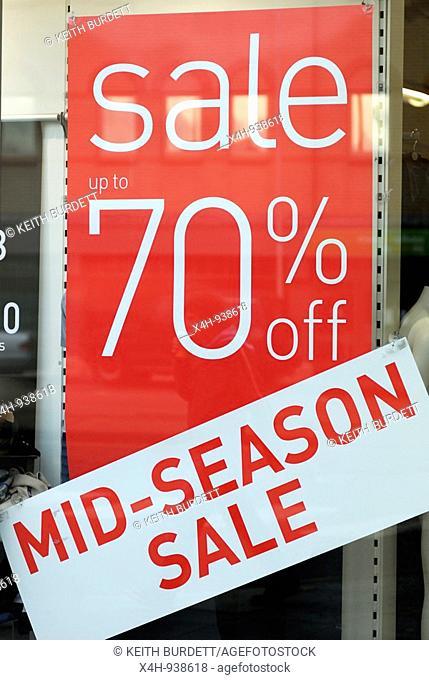Mid season sale sign, Autumn 2008, Aberystwyth, Wales
