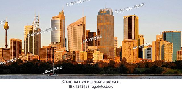 Panorama of Sydney's skyline at sunrise, TV Tower, Central Business District, Sydney, New South Wales, Australia