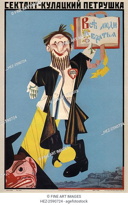 Sect Member is the Kulak's puppet, 1930. Found in the collection of the Russian State Library, Moscow