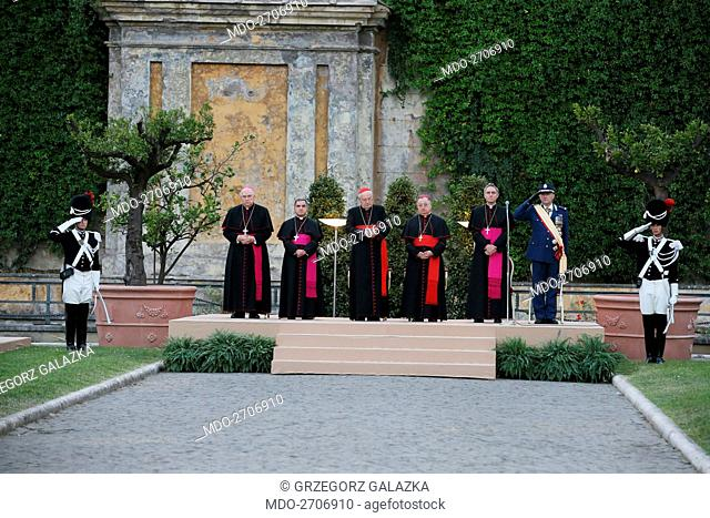 The Feast of Saint Michael The Archangel patron of the Corps of Gendarmerie being celebrated at Vatican Museums Square Garden for the 198th Anniversary of the...