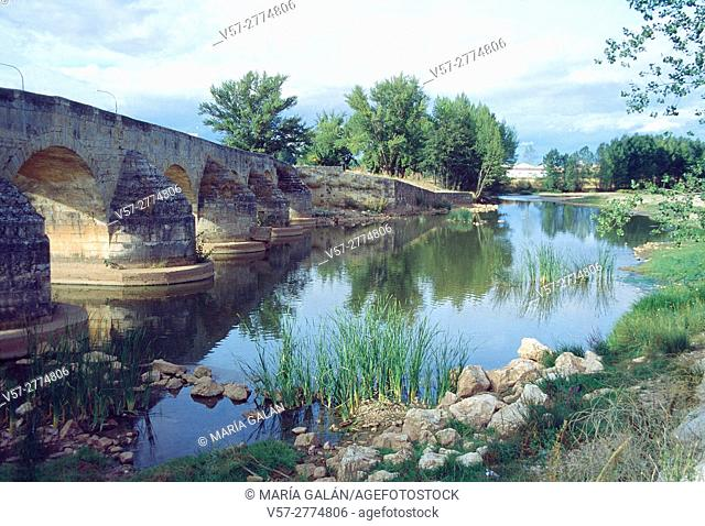 Medieval bridge and river Arlanza. Lerma, Burgos province, Castilla Leon, Spain