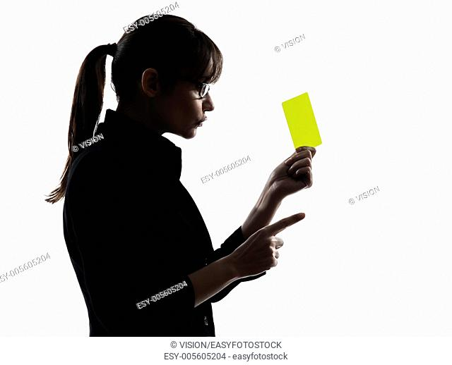 one business woman show g yellow card silhouette studio isolated on white background