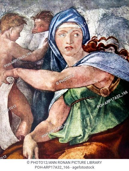The Delphic Sibyl (detail from the Sistine Chapel, Vatican, Rome) 1509 by Michelangelo (1475–1564). The Delphic Sibyl was a legendary figure who made prophecies...