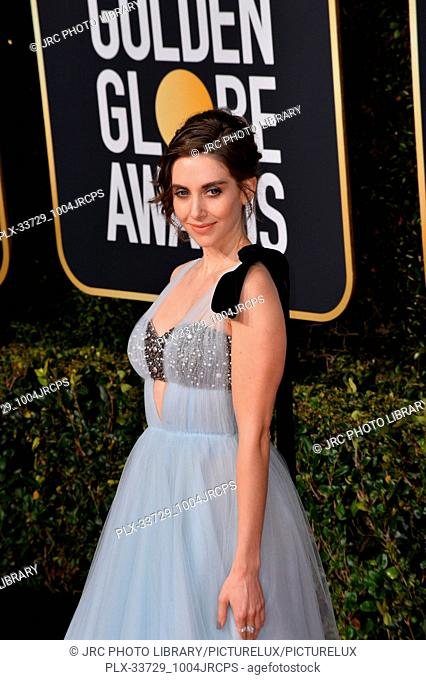LOS ANGELES, CA. January 06, 2019: Alison Brie at the 2019 Golden Globe Awards at the Beverly Hilton Hotel. © 2019 JRC Photo Library/PictureLux ALL RIGHTS...