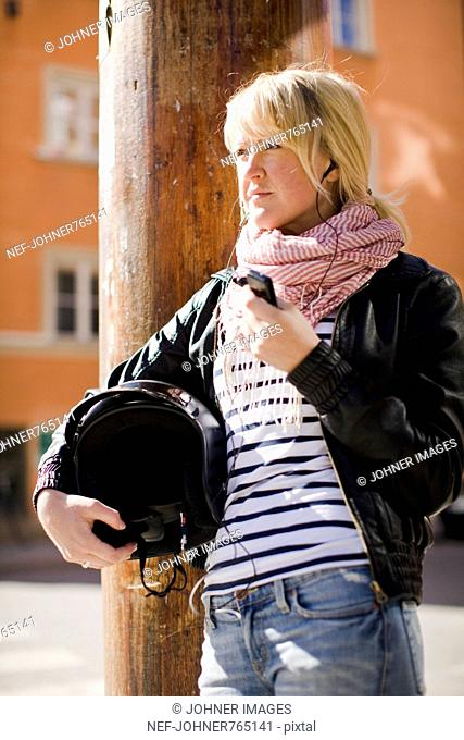 Woman with a mobile phone, Sweden