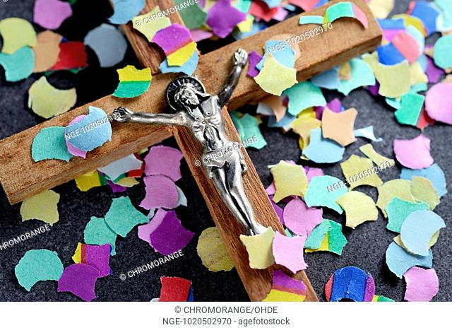 Cross and colourful confetti, Catholic church renewal