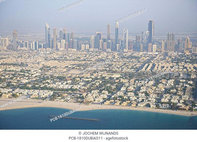 Dubai, aerial view on Jumeirah and sheik zayed road