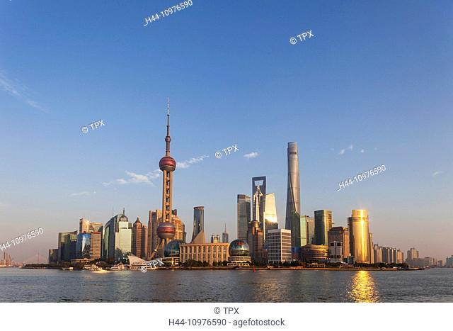 China, Shanghai, Pudong Skyline and Huangpu River
