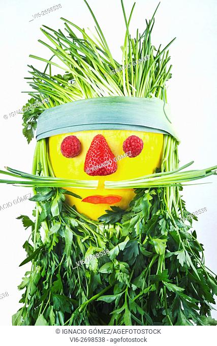 Hipster head with vegetables
