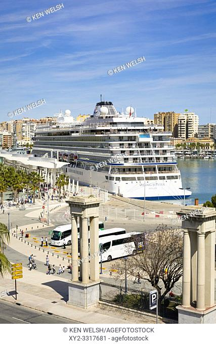 The Viking Jupiter cruise liner, belonging to the Viking Cruise Line, docked at Muelle Uno, Malaga, Costa del Sol, Malaga Province, Andalusia, southern Spain