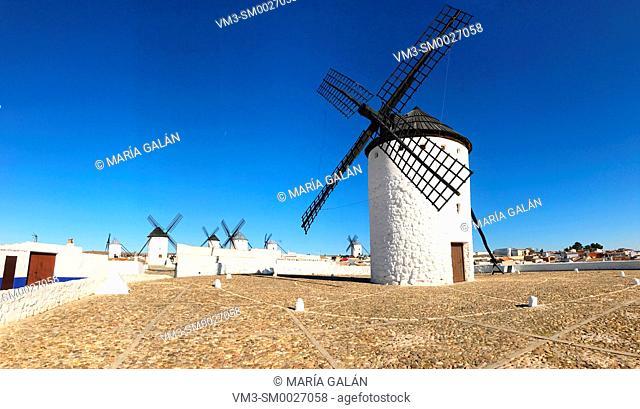 Windmills, panoramic view. Campo de Criptana, Ciudad Real province, Castilla La Mancha, Spain