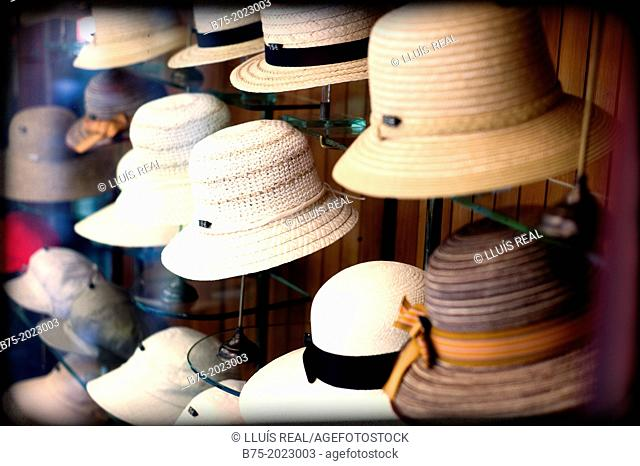 Store showcase classic hat shop in the center of Barcelona, Catalonia, Spain