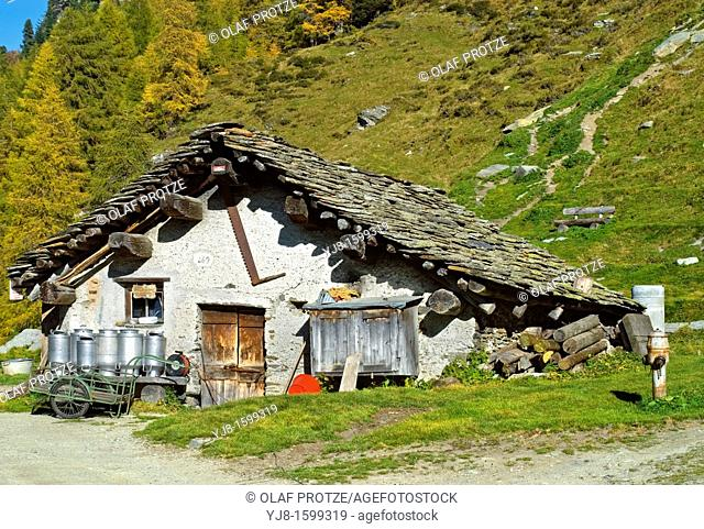 Goat barn in the traditional Swiss Village Isola at the Lake Sils, Engadin, Switzerland