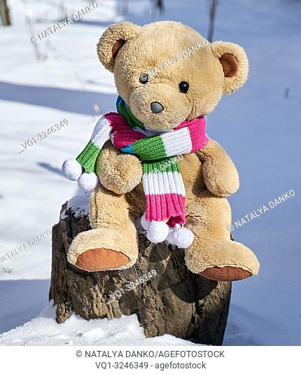 teddy bear in a scarf sits on a stump in the middle of white snow on a winter day