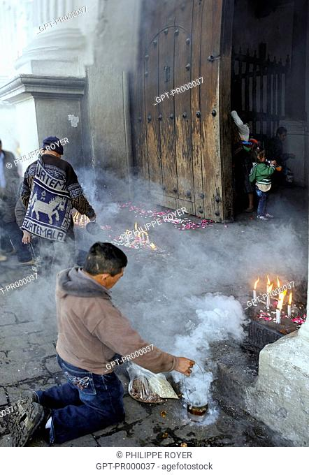 OFFERINGS PLACED ON THE SQUARE IN FRONT OF THE CHURCH OF CHICHICASTENANGO, GUATAMALA, CENTRAL AMERICA