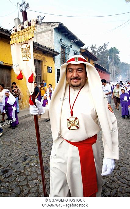 Guatemala, Antigua, Holy week, Man in procession (MR)