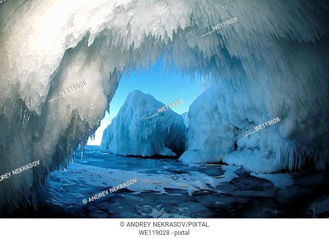 Ice cave on Olkhon island, Lake Baikal, Siberia, Russian Federation, Eurasia