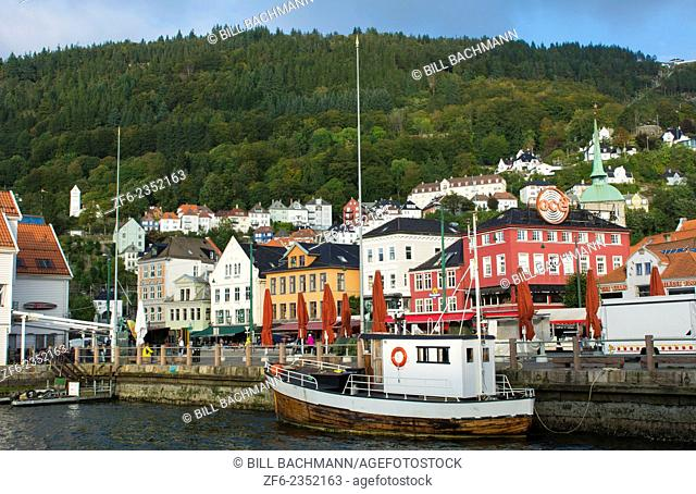 Bergen Norway Bryggen old town old and harbor with pier buildings and area for tourists in BRYGGEN area scenic color