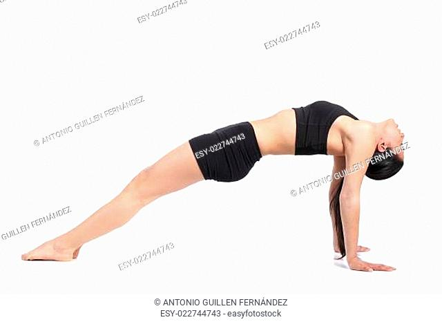 Fitness woman stretching with a flexibility exercise