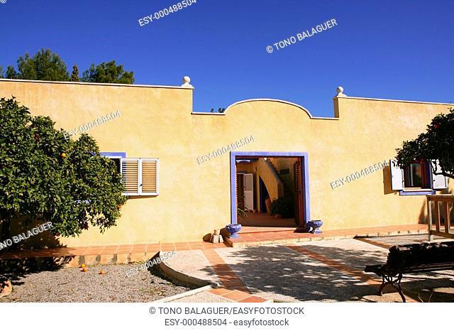 Spanish golden wall mediterranean style house, nice courtyard