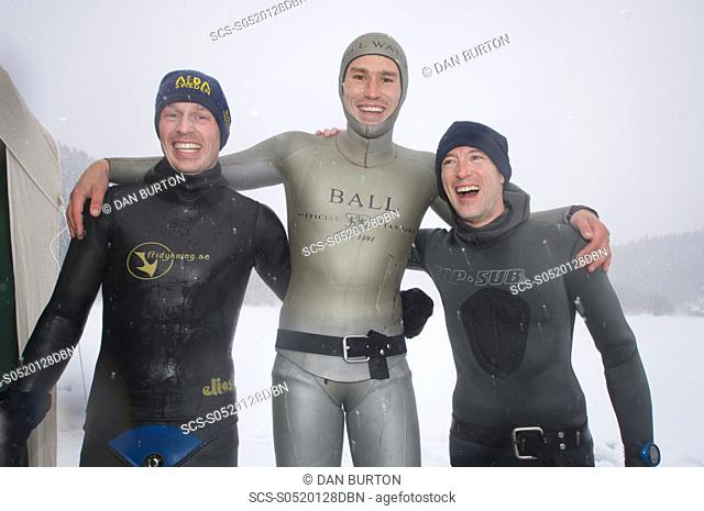Christian Ernist Sweden Gullaume Nery France & Christian maldame France after the Oslo Ice Challenge 2009 from left to right 2nd, 1st, 3rd place Oslo, Norway