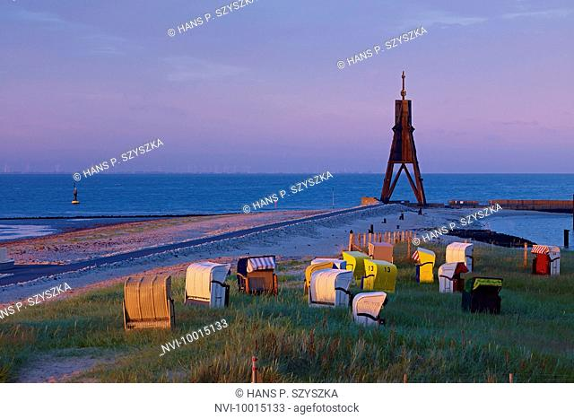 Kugelbake at the mouth of the Elbe River near Cuxhaven, Lower Saxony, Germany
