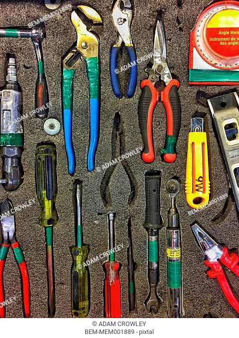 Tools arranged in foam container