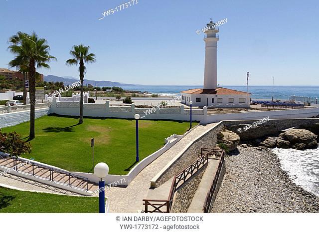The lighthouse on the Playa Ferrara Torrox Spain