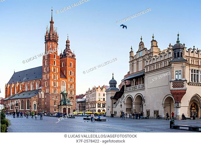 St. Mary's Basilica, at Main Market Square Rynek Glowny, Krakow, Poland