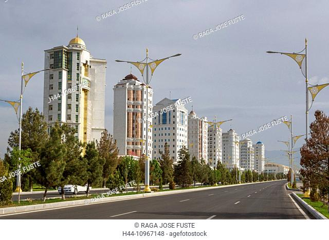 Ashgabat, City, Turkmenistan, Central Asia, Asia, apartments, architecture, avenue, new, no traffic, road