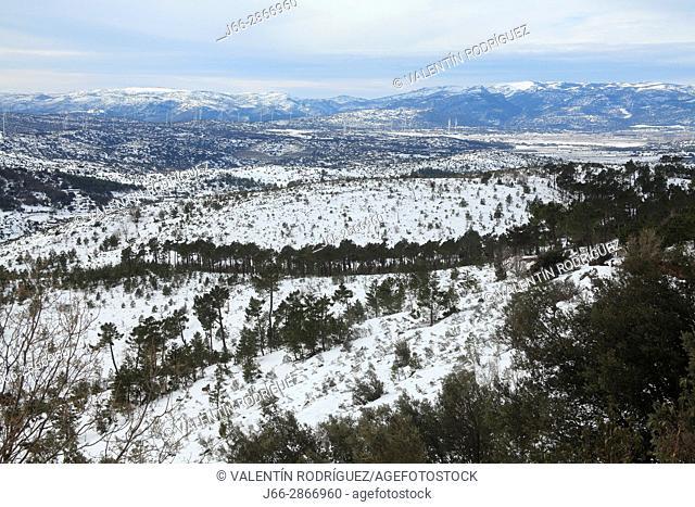 Winter landscape from peak Pine. Pina de Montalgrao. Natural park Sierra Espadán. Castellón