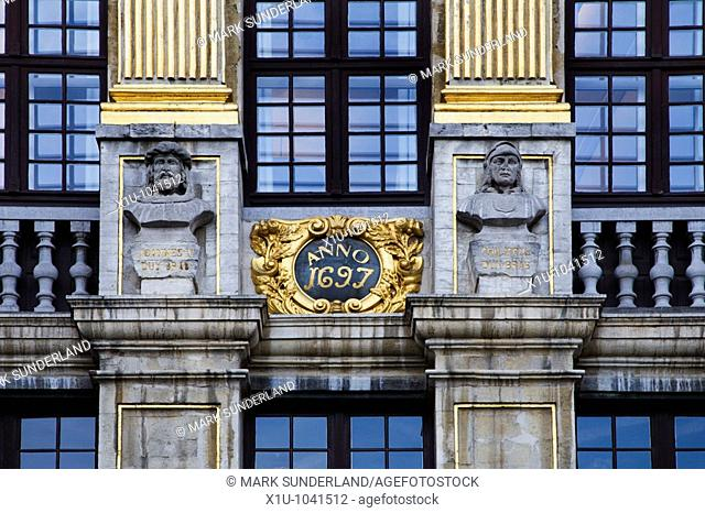Detail of La Maison des Ducs de Brabant in the Grand Place Brussels Belgium