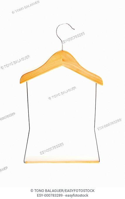 hanger perch wood and steel isolated over white background